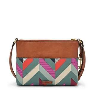 Fossil Fiona Chevron Blue Pink Faux Leather