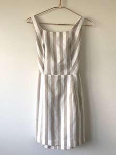 Tan & White Striped Dress