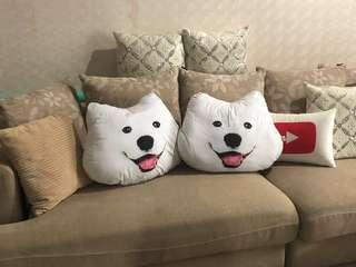 Cute Samoyed Dog head pillow cushion