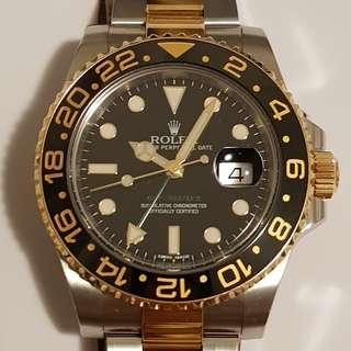 2014 ROLEX GMT MASTER II 116713LN TT HALF GOLD