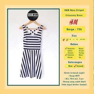 H&M Navy Striped Crisscross Dress