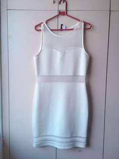 H&M White Dress with Mesh Details