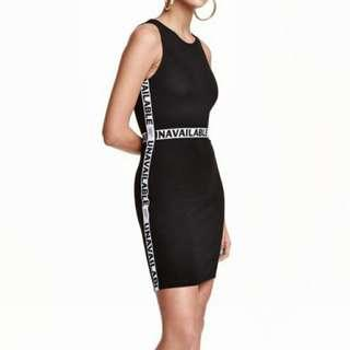 h&m divided | 'unavailable' bodycon dress in black