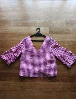 Preloved Zara Checked Top in Magenta/Pink
