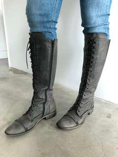 Charles David grey leather boots size 8