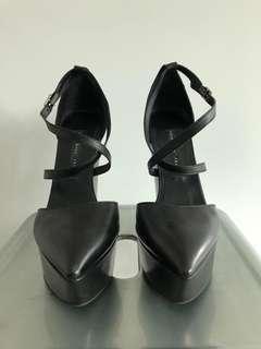 Theysken's Theory black leather platform heels size 8