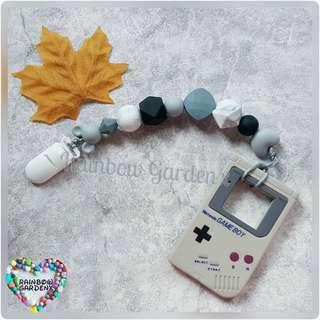 Handmade Silicone beads Pacifier Clip + Grey Gameboy teether combo