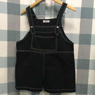(NEW) Black Loose Overall Romper For Petite