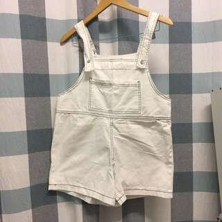 (NEW) White Loose Overall Romper For Petite Girl