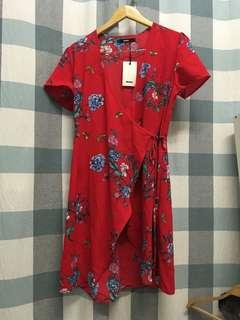 (NEW) Red Floral Overlap Dress