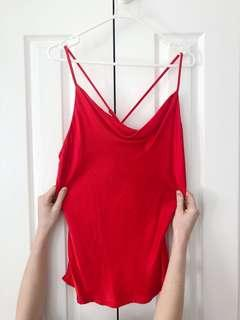 red silk singlet (cross over back)