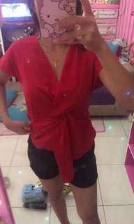 Blouse red kimono