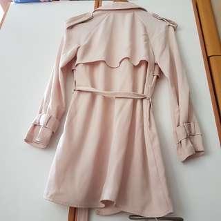 淺杏色韓國乾濕褸款雪紡綁帶外套