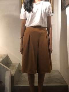 light brown flare culottes