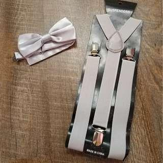 $9 both adult suspenders and bowtie set light grey gray