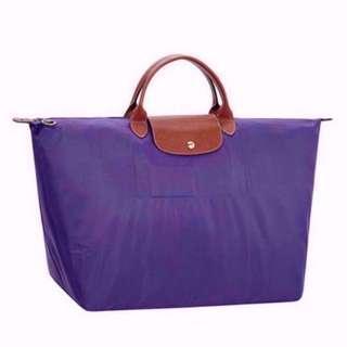 NEW Longchamp 1624 Women's Le Pliage Large Nylon Short Handle Travel Tote Bag (Amethyst Purple)