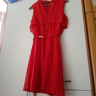 H&M 氣質紅色連腰帶雪紡連身裙 red chiffon dress