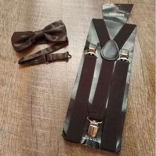 $9 both adult suspenders and bowtie set dark brown