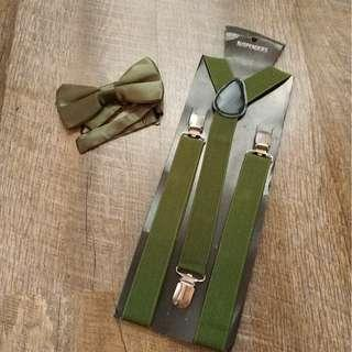 $9 both adult suspenders and bowtie set Army Green