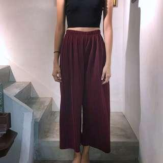 pleated culottes in wine
