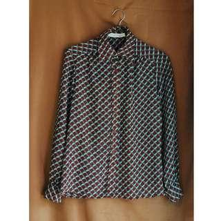 💕限時郵寄單件含運 Vintage 古著 小格紋薄長袖襯衫