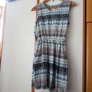 Plata 藍色連身裙 blue pattern dress