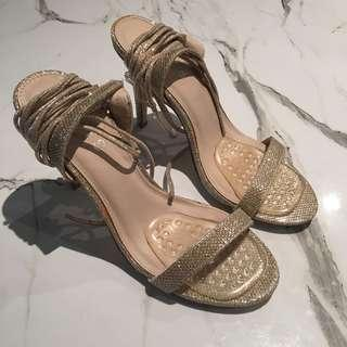 Gold Ankle Wrap Heels