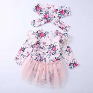 寶寶碎花紗裙連頭飾套裝