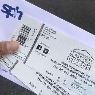 Moscow circus 25th Oct 2 tickets side by side