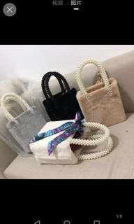 Inc pos inspired fur with pearl handle bag