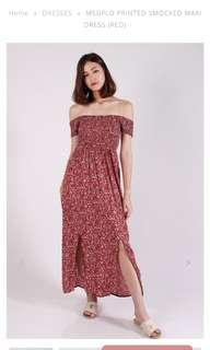 Printed smoked maxi dress