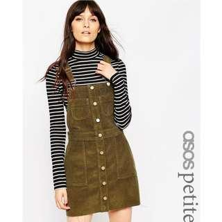 ASOS PETITE Denim Cord Mini Button Down Pinafore Dress in Olive Green