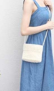 Inc pos pearl beaded long strap bag