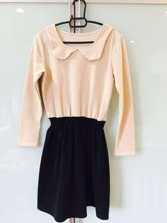 🆓📮Long Sleeved Round Collared Beige Dress