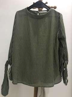 Stripe Blouse Dusty Green