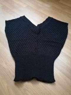 Korean knitted V neck top