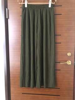 🚚 鬆緊寬褲(綠色)
