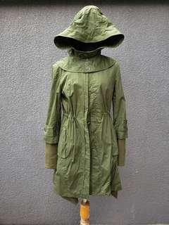 Military green heavy weight trench coat