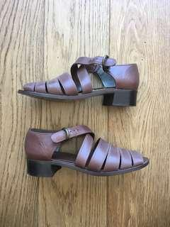 Leather brown sandals - size 37
