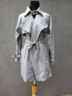 Gray tailored trench coat