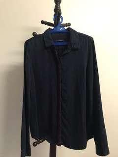 Promod Midnight Blue Embroidered Buttondown