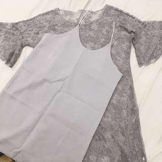 Grey lace dress (set)