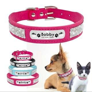 Personalized Customized Pet Rhinestone Collar ID Tag For Small Medium Dogs & Cats
