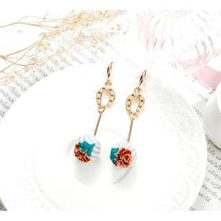 韓國現貨幸運馬蹄鐵玫瑰刺繡球垂墜長款耳環/可改耳夾