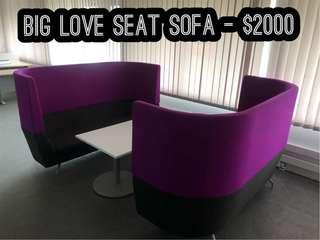 Set of love sofa with white table
