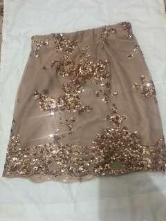 Rose gold glittery skirt