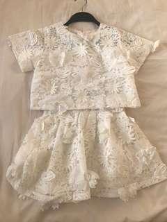 (6-8歳) Seeds 白色通花喱士套裝裙(有哩)