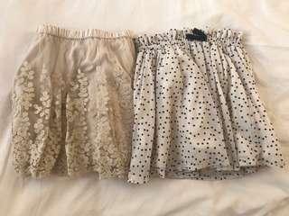 (8-10歲) Zara Girls 橡根頭Lace 碎花短裙 x2