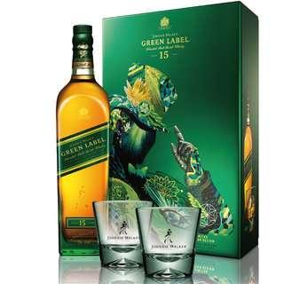 JOHNNIE WALKER Green Label 綠牌15年 限量版 蘇格蘭威士忌禮盒