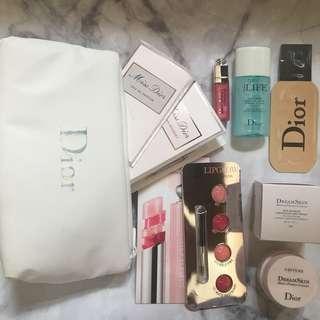 Dior 福袋 一套8件 皇牌變色潤唇膏 最新粉底 香水 化妝袋